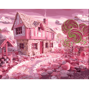 Pink House - Paint By Numbers Kit For Adults - Easy Paint By Numbers - DIY City