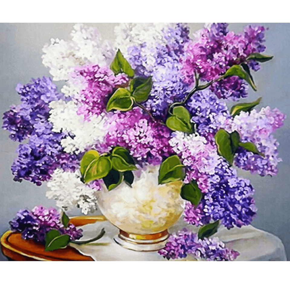 Violet Flower Splash - Paint By Numbers Kit For Adults - Easy Paint By Number Kits for adults- DIY Flowers