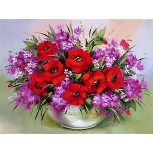 Violet Pot - Paint By Numbers Kit For Adults - Easy Paint By Numbers - DIY Flowers