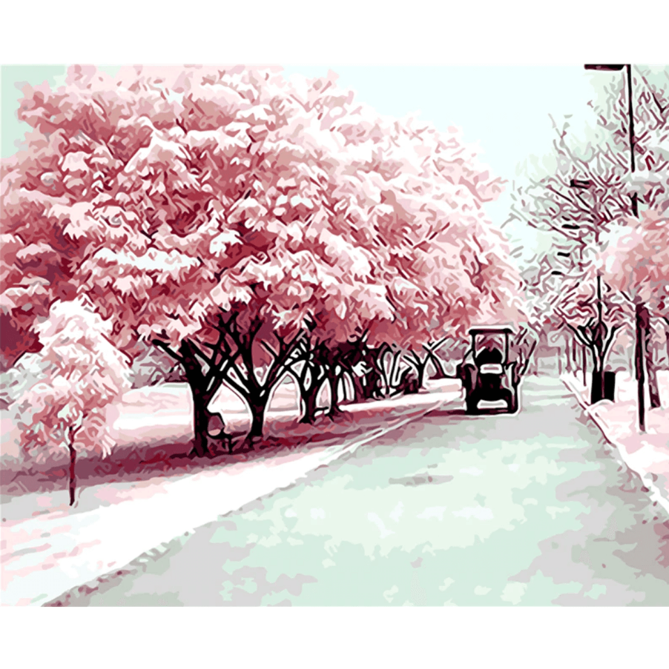 Pink Road - Paint By Numbers Kit For Adults - Easy Paint By Numbers - DIY City