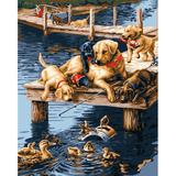 Playing Dogs - Paint By Numbers Kit For Adults - Easy Paint By Numbers - DIY Animals