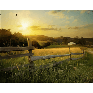 Sunrise in Rural - Paint By Numbers Kit For Adults - Easy Paint By Numbers - DIY Land