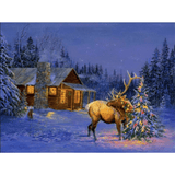 Village House - Paint By Numbers Kit For Adults - Easy Paint By Number Kits for adults- DIY Snow