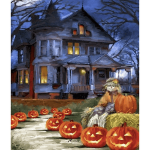 Castle Pumpkin Road - Paint By Numbers Kit For Adults - Easy Paint By Number Kits for adults- DIY Land