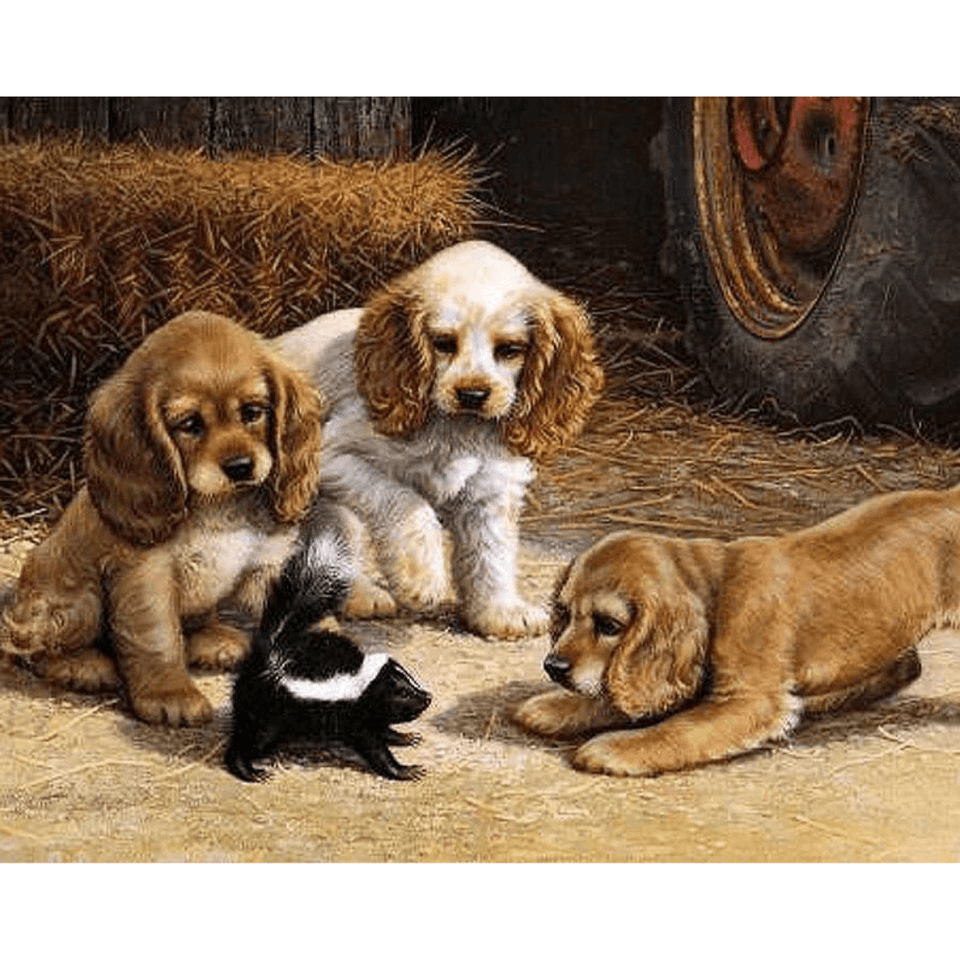 Playing Puppies - Paint By Numbers Kit For Adults - Easy Paint By Number Kits for adults- DIY Miss
