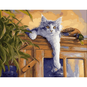 White Cat - Paint By Numbers Kit For Adults - Easy Paint By Number Kits for adults- DIY Animals