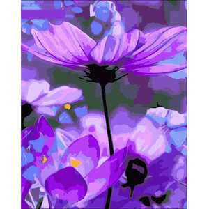 Purple Flower - Paint By Numbers Kit For Adults - Easy Paint By Number Kits for adults- DIY Flowers
