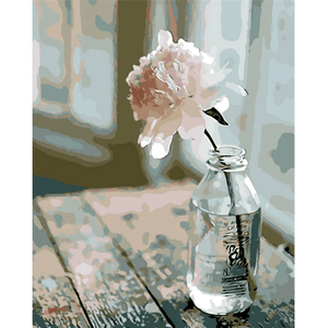 White Flower - Paint By Numbers Kit For Adults - Easy Paint By Numbers - DIY Flowers
