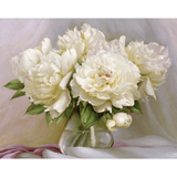 White Flowers - Paint By Numbers Kit For Adults - Easy Paint By Numbers - DIY Flowers