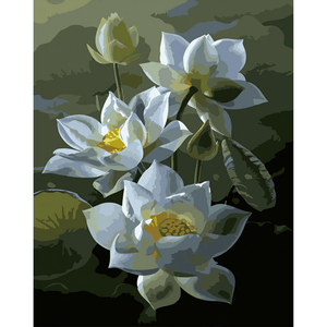 White Lotus - Paint By Numbers Kit For Adults - Easy Paint By Number Kits for adults- DIY Flowers