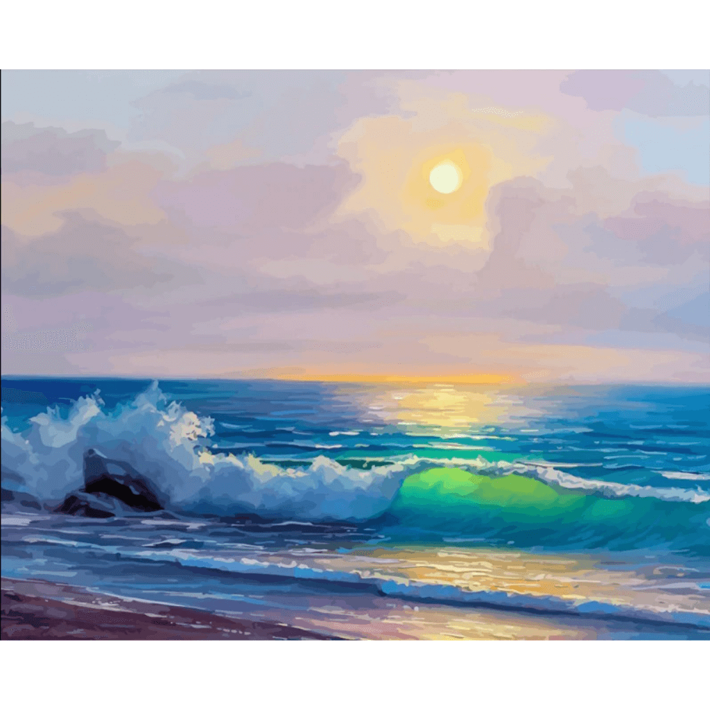 Sunrise n Beach - Paint By Numbers Kit For Adults - Easy Paint By Number Kits for adults- DIY Ocean