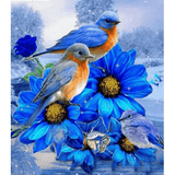 Blue Flower & Birds - Paint By Numbers Kit For Adults - Easy Paint By Number Kits for adults- DIY Flowers