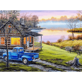 House And River - Paint By Numbers Kit For Adults - Easy Paint By Numbers - DIY Land