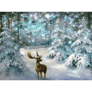 Christmas Deer - Paint By Numbers Kit For Adults - Easy Paint By Numbers - DIY Snow