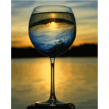Wine Glass Landscape - Paint By Numbers Kit For Adults - Easy Paint By Numbers - DIY Land