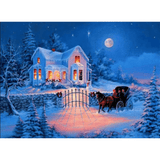 Snow House - Paint By Numbers Kit For Adults - Easy Paint By Number Kits for adults- DIY Snow