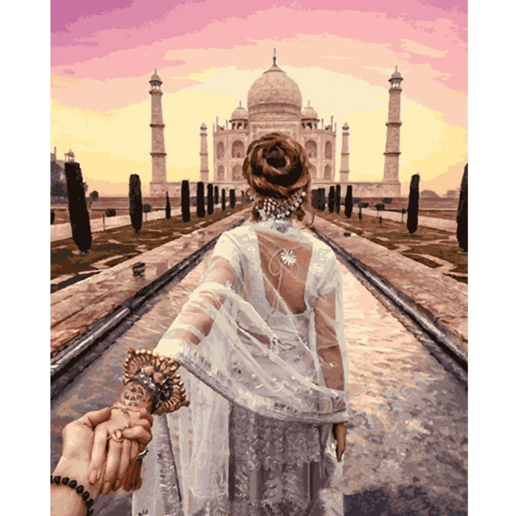 Romantic Taj mahal - Paint By Numbers Kit For Adults - Easy Paint By Numbers - DIY Love