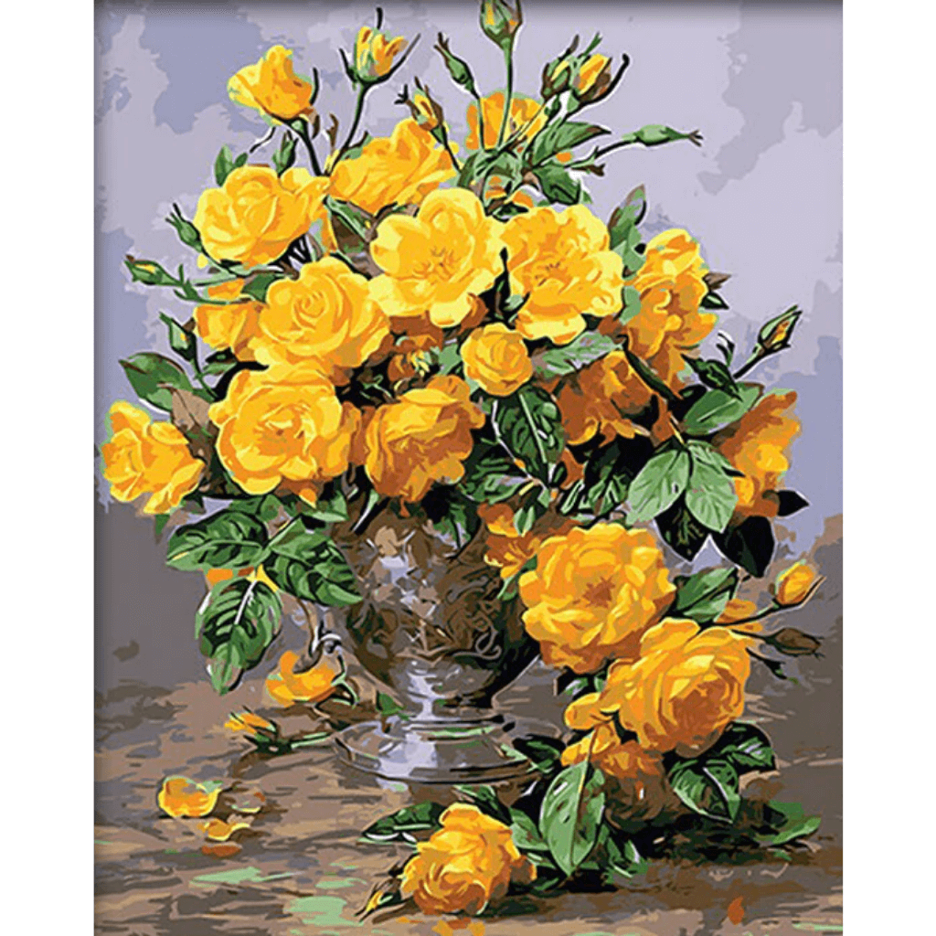 Yellow Rose - Paint By Numbers Kit For Adults - Easy Paint By Number Kits for adults- DIY Flowers