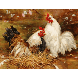 Rooster Love - Paint By Numbers Kit For Adults - Easy Paint By Numbers - DIY Animals