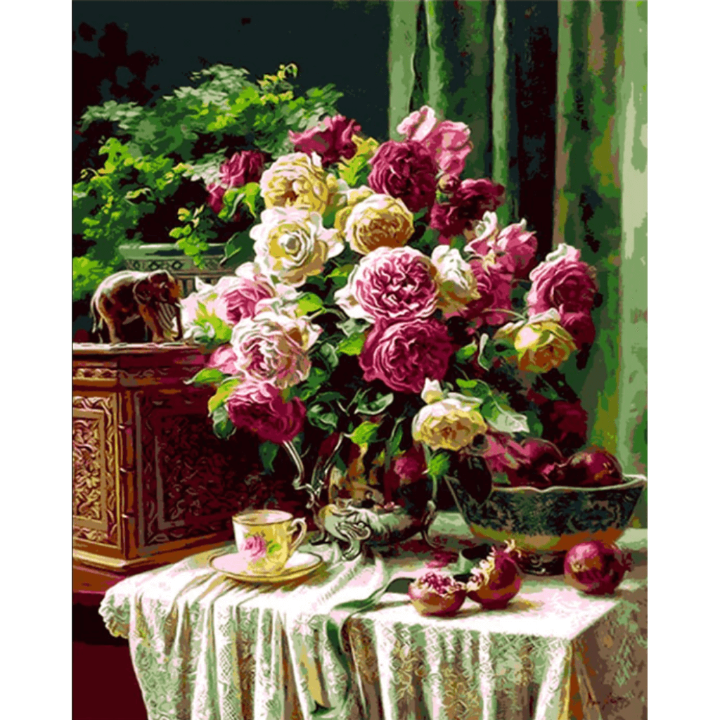 Roses on Table - Paint By Numbers Kit For Adults - Easy Paint By Numbers - DIY Flowers