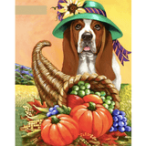 Dog With Pumpkin - Paint By Numbers Kit For Adults - Easy Paint By Numbers - DIY Animals