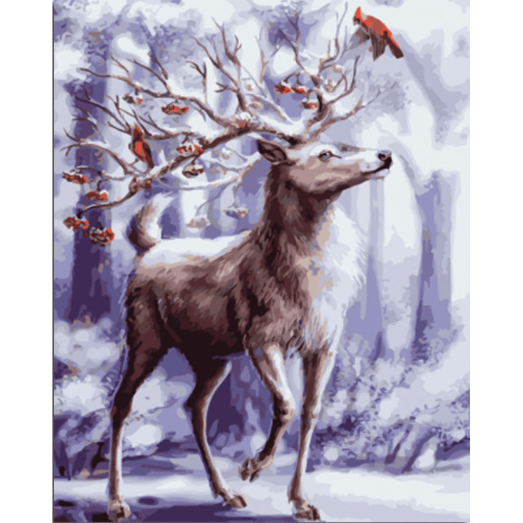 Snow Deer - Paint By Numbers Kit For Adults - Easy Paint By Numbers - DIY Animals