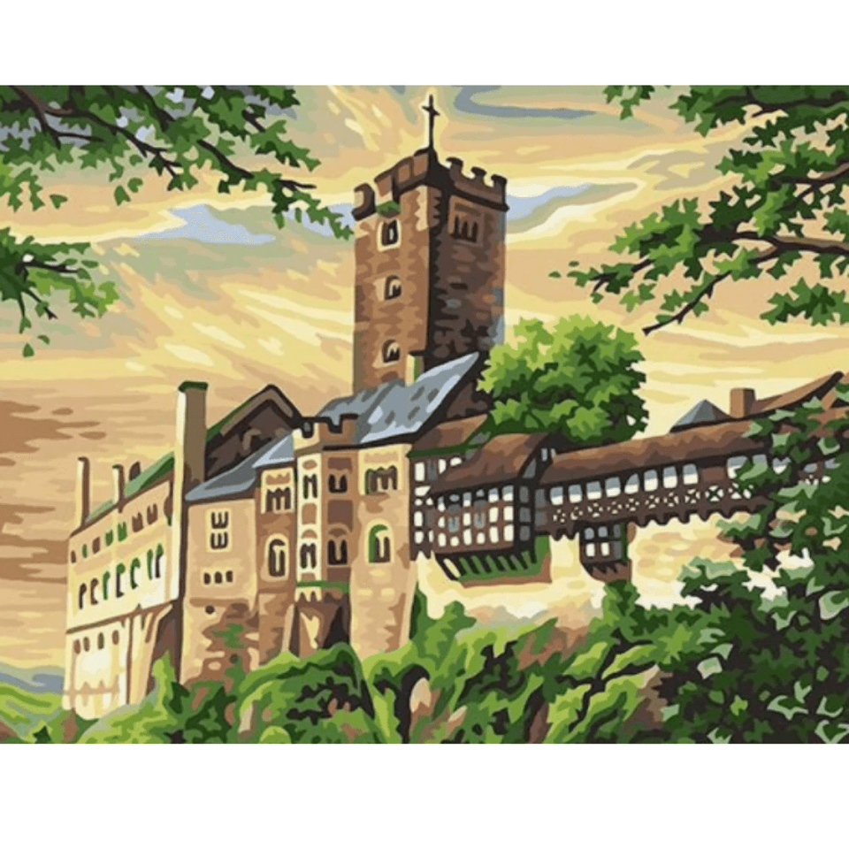 Castle Landscape - Paint By Numbers Kit For Adults - Easy Paint By Number Kits for adults- DIY Land