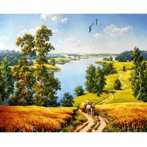 Rural Landscape - Paint By Numbers Kit For Adults - Easy Paint By Numbers - DIY Land
