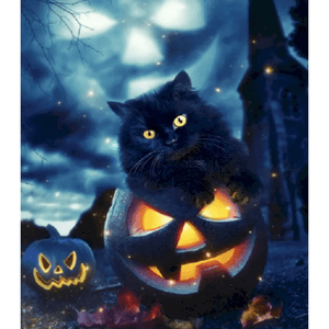 Shadow Cats & Pumpkin - Paint By Numbers Kit For Adults - Easy Paint By Numbers - DIY Land