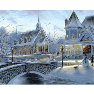 Snow Europe - Paint By Numbers Kit For Adults - Easy Paint By Numbers - DIY Snow