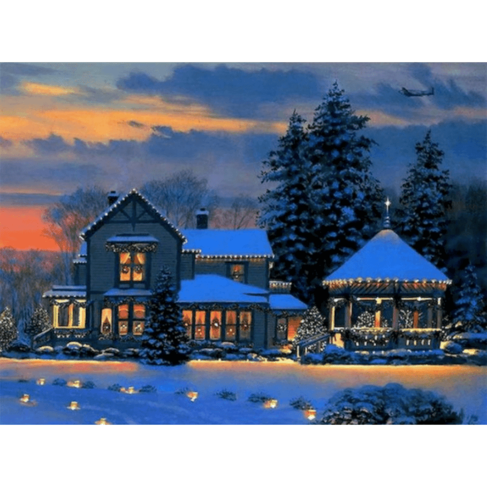 Winter Snow House - Paint By Numbers Kit For Adults - Easy Paint By Number Kits for adults- DIY Snow