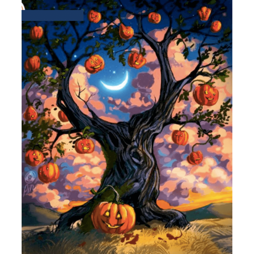 Black Pumpkin Tree - Paint By Numbers Kit For Adults - Easy Paint By Numbers - DIY Objects