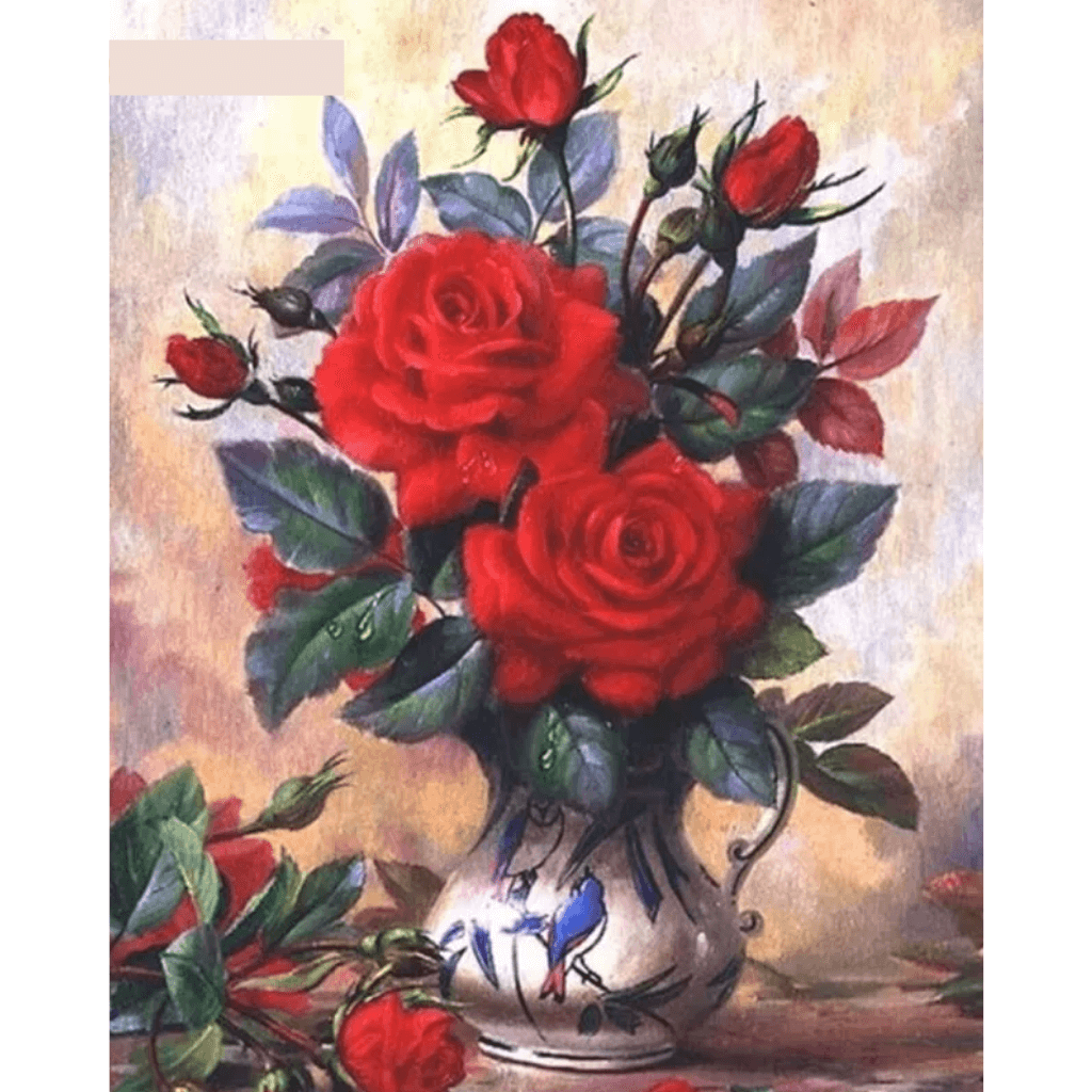 Red Flower In Vase - Paint By Numbers Kit For Adults - Easy Paint By Numbers - DIY Flowers