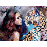 Girl And Leopard - Paint By Numbers Kit For Adults - Easy Paint By Number Kits for adults- DIY Animals