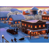 Snow Day Village - Paint By Numbers Kit For Adults - Easy Paint By Number Kits for adults- DIY Snow