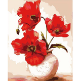 Red Flower - Paint By Numbers Kit For Adults - Easy Paint By Number Kits for adults- DIY Flowers