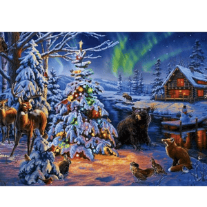 Fox And Bear - Paint By Numbers Kit For Adults - Easy Paint By Number Kits for adults- DIY Snow