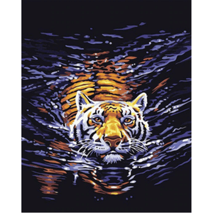 Swimming Tiger - Paint By Numbers Kit For Adults - Easy Paint By Number Kits for adults- DIY Animals