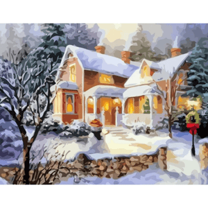 Colorful Winter House - Paint By Numbers Kit For Adults - Easy Paint By Number Kits for adults- DIY Snow