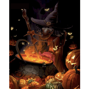 Witch Pumpkin Landscape - Paint By Numbers Kit For Adults - Easy Paint By Numbers - DIY Miss