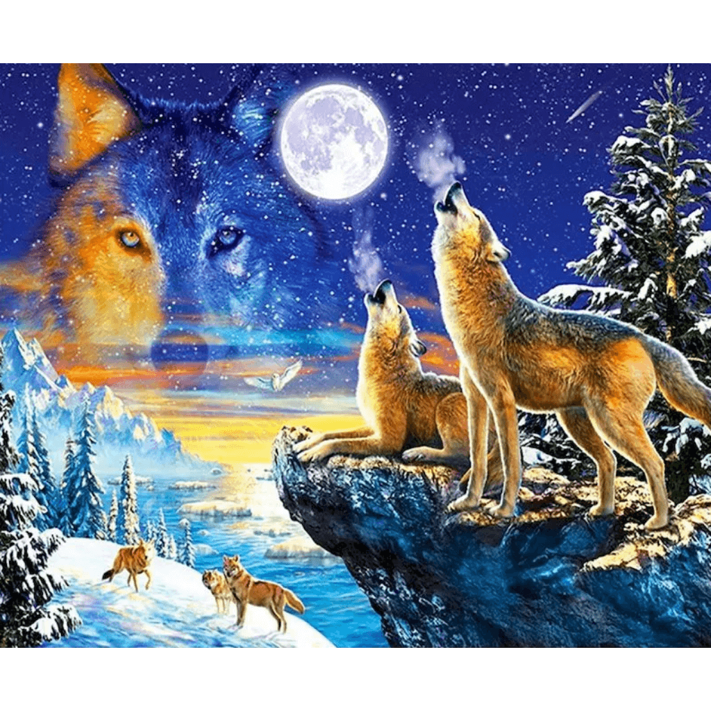 Roaring Wolf - Paint By Numbers Kit For Adults - Easy Paint By Numbers - DIY Animals
