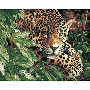 Waiting Leopard - Paint By Numbers Kit For Adults - Easy Paint By Numbers - DIY Animals