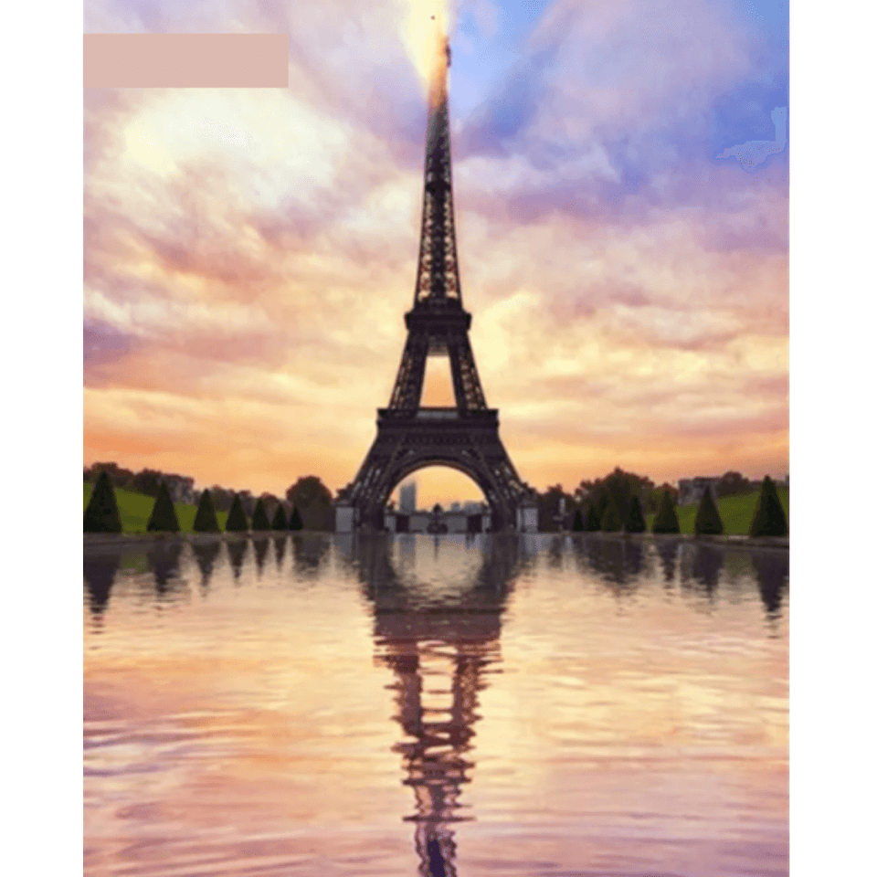 Tower Reflection - Paint By Numbers Kit For Adults - Easy Paint By Number Kits for adults- DIY Land