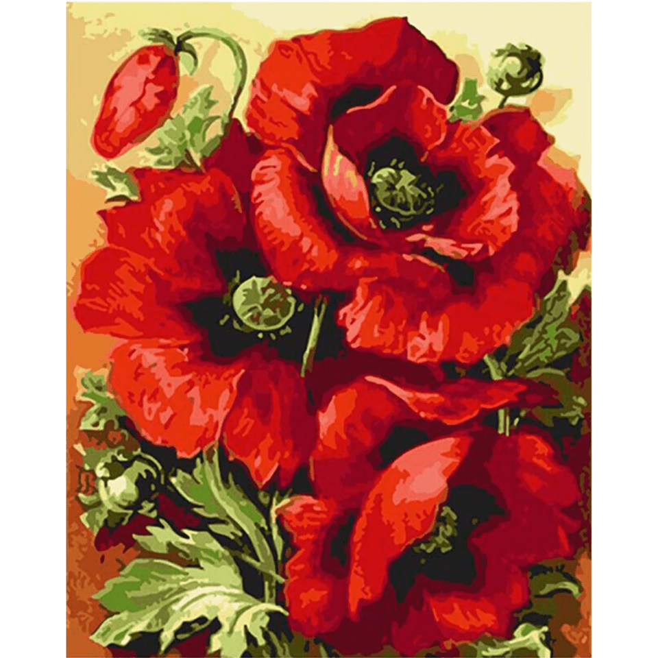 Red Flower Bunch - Paint By Numbers Kit For Adults - Easy Paint By Numbers - DIY Flowers