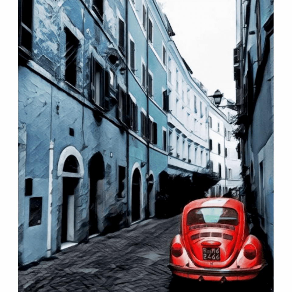 Red Car In Alley - Paint By Numbers Kit For Adults - Easy Paint By Numbers - DIY Miss