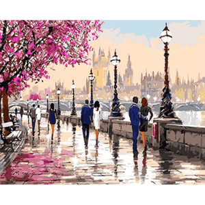 Park Walk - Paint By Numbers Kit For Adults - Easy Paint By Numbers - DIY Love