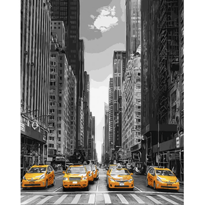Modern City Cab - Paint By Numbers Kit For Adults - Easy Paint By Numbers - DIY City