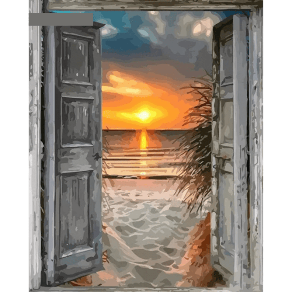 Front Door Beach - Paint By Numbers Kit For Adults - Easy Paint By Number Kits for adults- DIY Ocean