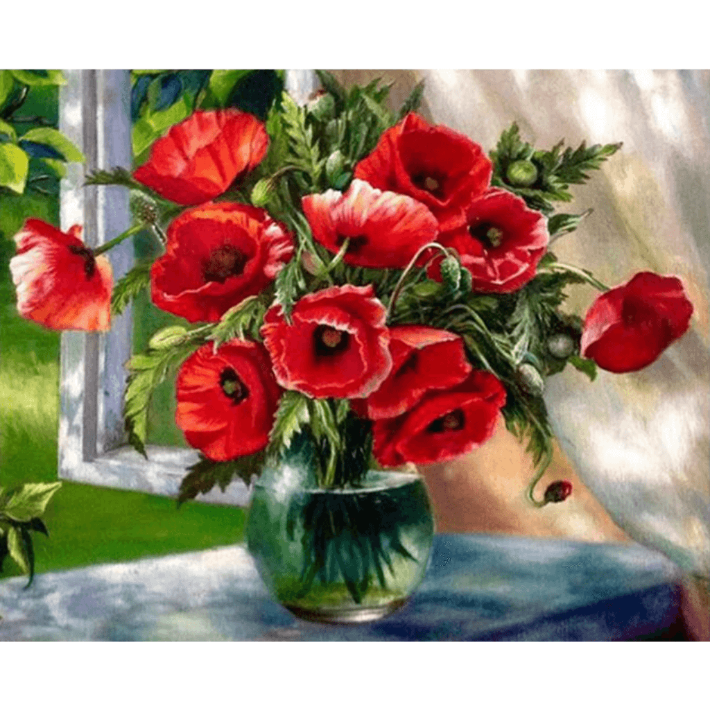 Red Flowers - Paint By Numbers Kit For Adults - Easy Paint By Numbers - DIY Flowers