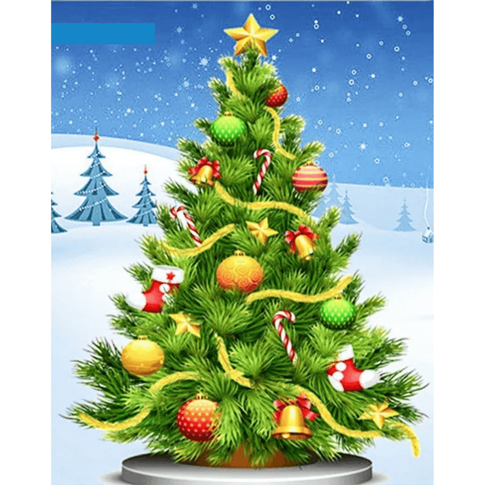 Christmas Tree - Paint By Numbers Kit For Adults - Easy Paint By Number Kits for adults- DIY Snow